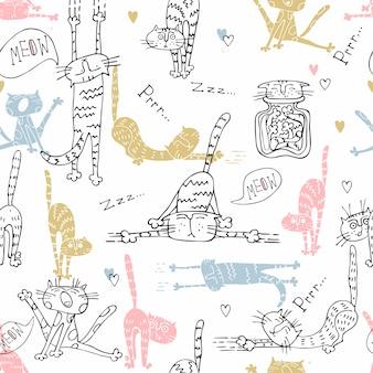 かわいいスタイルで面白い猫とのシームレスなパターンの壁紙。