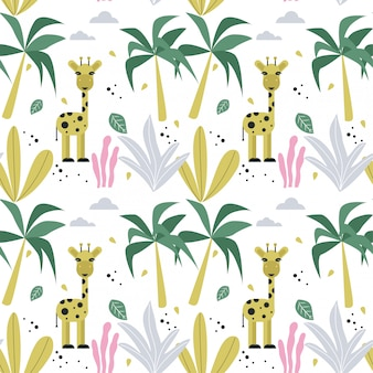Seamless pattern wallpaper with giraffe and palm trees