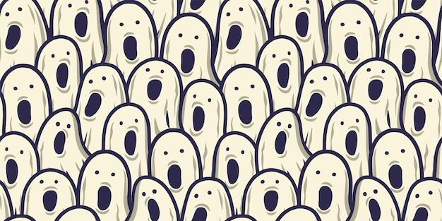 ハロウィーンの休日のデザインのための恐ろしい恐ろしい幽霊の精神と魂とのシームレスなパターンの壁紙