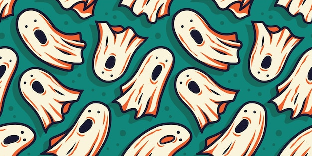 Seamless pattern wallpaper with scary horrible ghost spirit and soul for halloween holiday design
