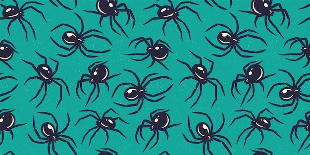 할로윈 10월 파티를 위한 거미 또는 곤충이 있는 원활한 패턴 벽지