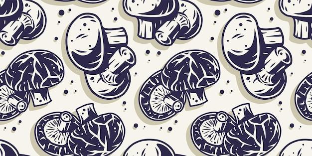 자연 디자인을위한 채식 샴 피뇽 가을 버섯 따기와 원활한 패턴 벽지