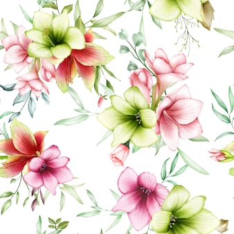 Seamless pattern watercolor amaryllis flowers