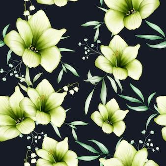 Seamless pattern watercolor amaryllis flowers