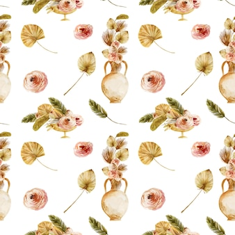 Seamless pattern of watercolor ancient vases with dried fan palm leaves and boho flowers