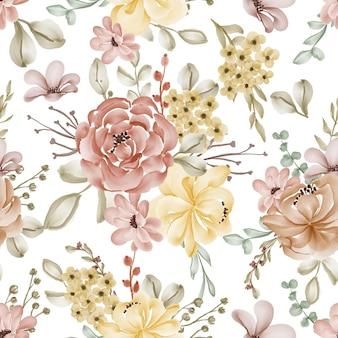 Seamless pattern watercolor autumn flowers