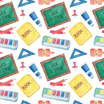 Seamless pattern of watercolor back to school supplies