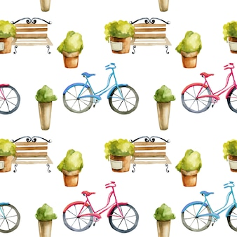 Seamless pattern of watercolor benches and bicycles
