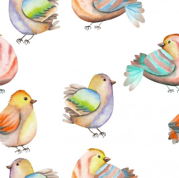 Seamless pattern of watercolor birds