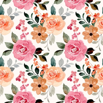 Seamless pattern of watercolor blooming flowers
