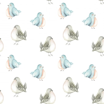 Seamless pattern of the watercolor blue birds