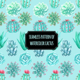 Seamless pattern of watercolor cactus
