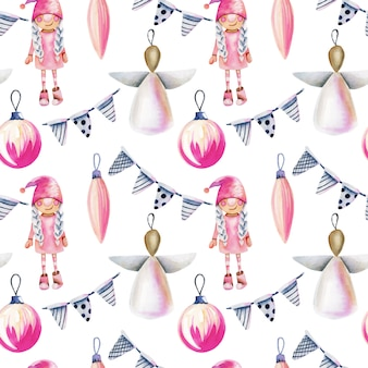 Seamless pattern of watercolor christmas decorations in scandinavian style
