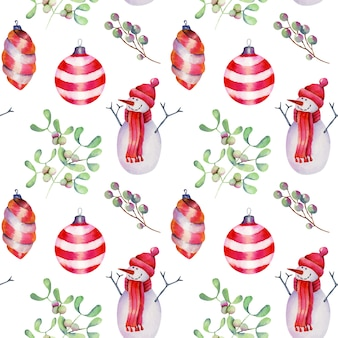 Seamless pattern of watercolor christmas decorations, snowman and mistletoe, hand drawn