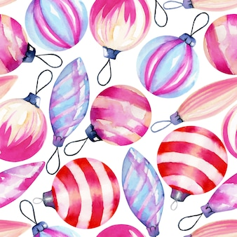 Seamless pattern of watercolor christmas decorations