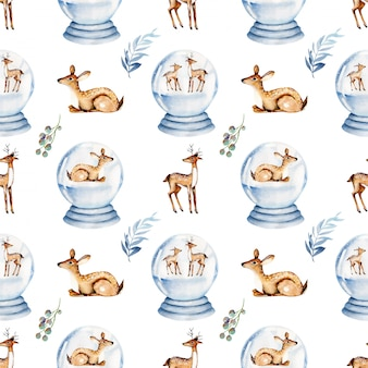Seamless pattern of watercolor christmas deers