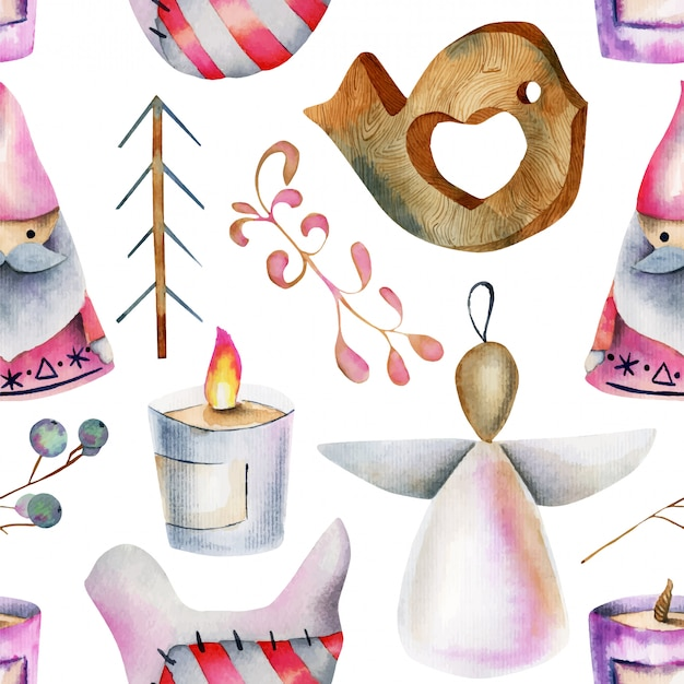 Seamless pattern of watercolor christmas items