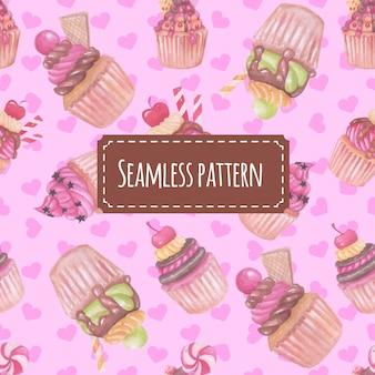 Seamless pattern watercolor cupcake pink