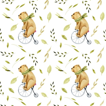 Seamless pattern of watercolor cute bears on a bicycle
