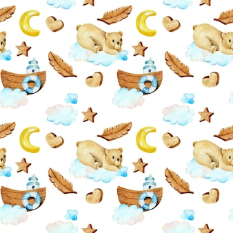 Seamless pattern of watercolor cute bears on the clouds