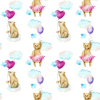 Seamless pattern of watercolor cute bears in the sky