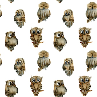 Seamless pattern of watercolor cute owls