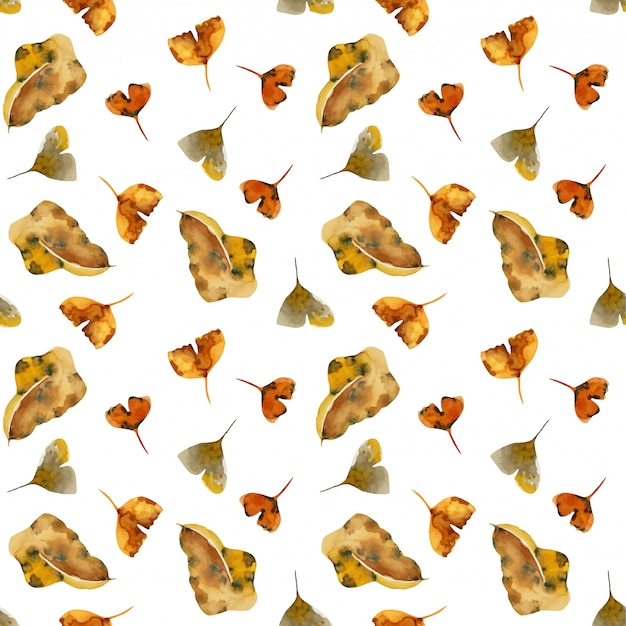 Seamless pattern of watercolor dry autumn leaves