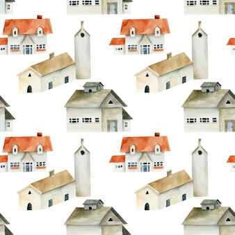 Seamless pattern of watercolor european ancient houses, hand painted on a white background