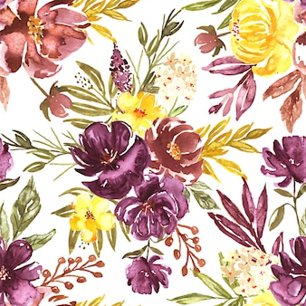 Seamless pattern watercolor fall floral loose