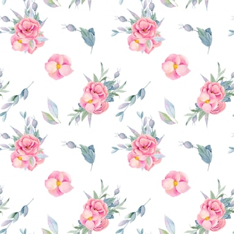 Seamless pattern of watercolor floral bouquets, isolated flowers and branches, hand painted