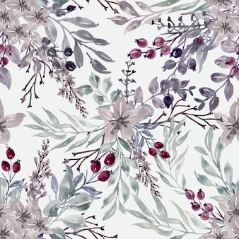 Seamless pattern watercolor floral winter
