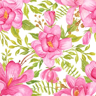 Seamless pattern watercolor flower magnolia pink and greenery leaf