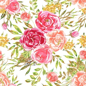 Seamless pattern watercolor flower pink soft