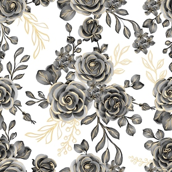 Seamless pattern of watercolor flower rose black gold