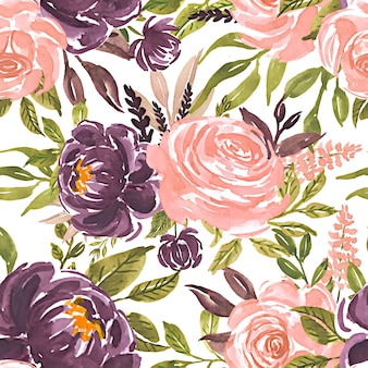 Seamless pattern watercolor flower rose pink purple