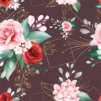 Seamless pattern of watercolor flowers arrangements and gold glitter