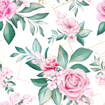 Seamless pattern of watercolor flowers arrangements with geometric glitter