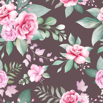 Seamless pattern of watercolor flowers arrangements