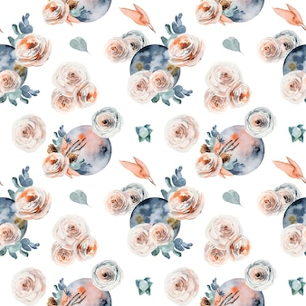 Seamless pattern of watercolor full moon in vintage flower pink and white roses eucalyptus