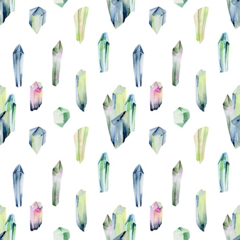 Seamless pattern of watercolor gemstones and crystals in green colors, hand painted illustration on a white