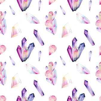 Seamless pattern of watercolor gemstones and crystals in pink and purple colors