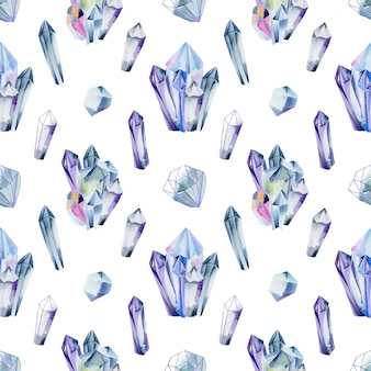 Seamless pattern of watercolor gemstones and crystals