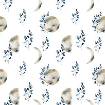 Seamless pattern of watercolor golden moon phases and blue branches