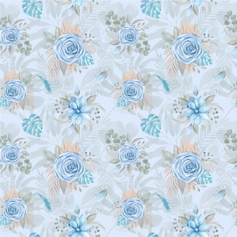 Seamless pattern watercolor illustration of a boho bouquet of blue rose