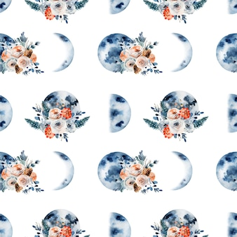 Seamless pattern of watercolor moon phases in vintage flowers