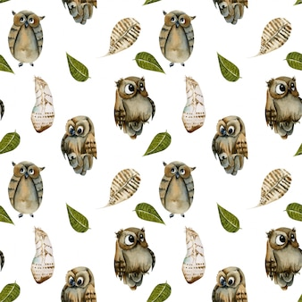 Seamless pattern of watercolor owls and feathers