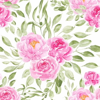 Seamless pattern watercolor peonies pink