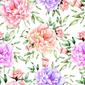 Seamless pattern watercolor peony flower
