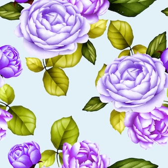 Seamless pattern watercolor peony flower