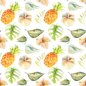 Seamless pattern of watercolor pineapple and tropical flowers and leaves, hand painted isolated illustration.